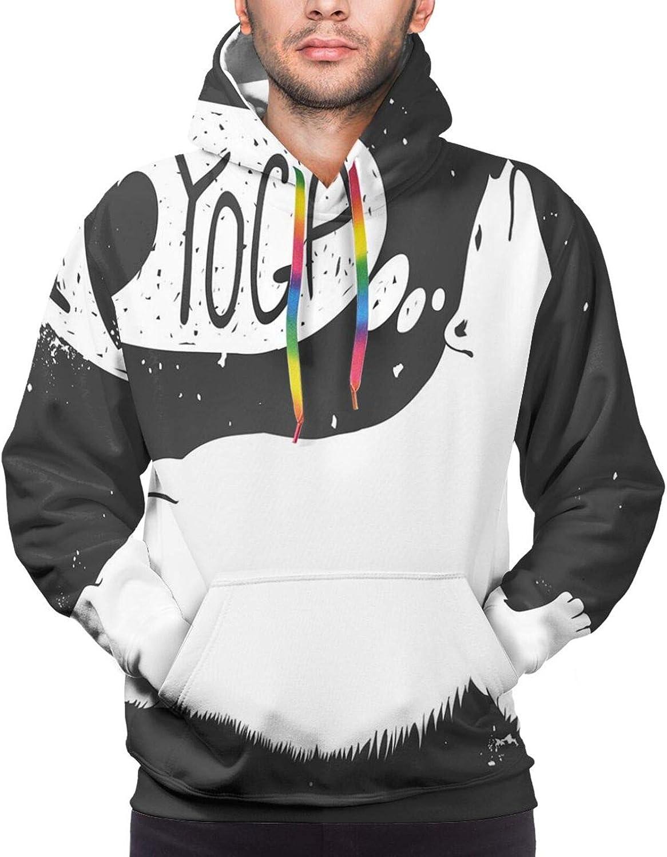 Men's Hoodies Sweatshirts,Cute Polar Bear Saying I Love Yoga Grunge Wildlife Illustration Meditation