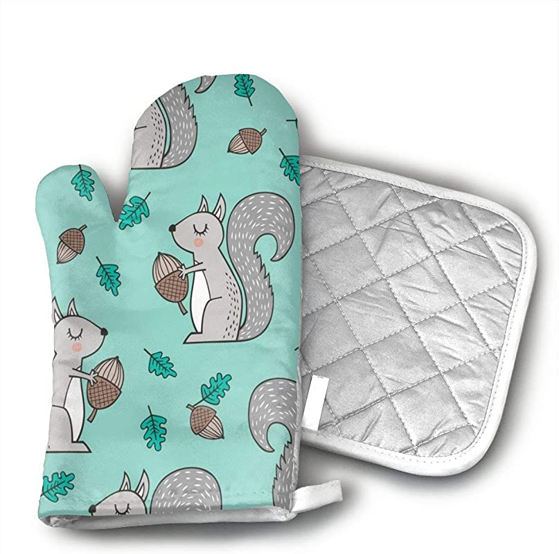 BenteLi Forest Squirrels With Leaves Acorn Autumn Fall On Mint Green Oven Mitts Professional Heat Resistant Microwave Oven Insulation Thickening Gloves Soft Inner Lining Kitchen Cooking Mittens