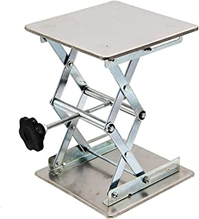"""HFS (R) Plate 8x8; Overall Height 10""""; Lab Jack Scissor Stand Platform Lab Load Bearing 15kg/33lbs"""