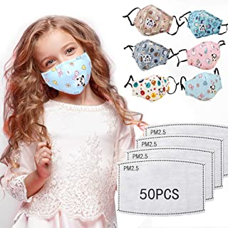 6 PCS Washable Cartoon P.M.0.2.5 Face M-a-sk Kids Boys Girls Warm Anti P0ll-ution Ma*s*k With 50 Pcs Act-ivated Carbon Fi/l/ter 5 layers For Children