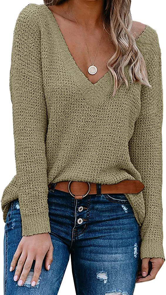 Tutorutor Women's Off The Shoulder Sweater Tops Sexy Deep V Neck Batwing Sleeve Loose Knit Blouse Shirt Jumper Pullover