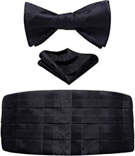HISDERN Mens Classic Cummerbund and Bowtie Set & Pocket Square 3PCS Set Adjustable Length Formal Tuexdo and Dressed Shirt for Wedding Party Prom