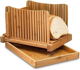 FSSQYLLX Loaf Tins Bamboo Bread Slicer Loaf Cutting Guide Board Adjustable & Foldable