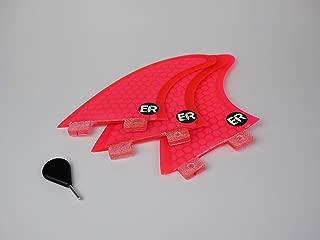 Eisbach Riders - FCS Surfboard Fiberglas Honeycomb Thruster Fin Set with Fin Key - Quillas para Tablas de Surf - Size Small/Medium/Large