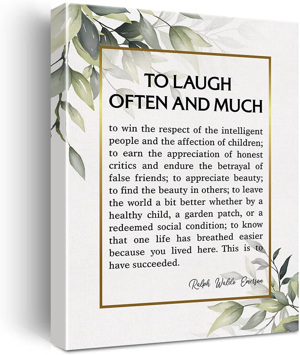 to Laugh Often and Much Canvas Wall Art Motivational Ralph Waldo Emerson Quote Canvas Print Artwork Positive Canvas Painting Office Library Home Wall Decor Framed Gift 12x15 Inch