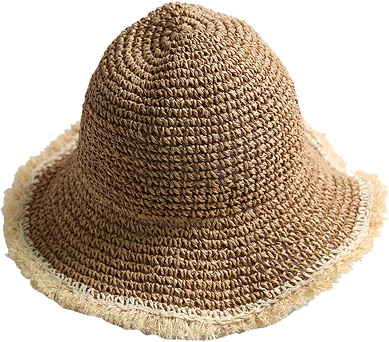 Womens Sun Straw Hat Wide Brim Summer Hat Foldable Roll up Floppy Beach Hats for Women Girl UPF 50+