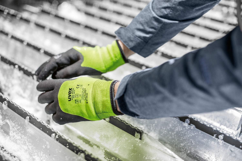 Gants Hiver Niveau C Vert Uvex Unilite Thermo Plus Cut C Gants de Travail R/ésistants aux Coupures