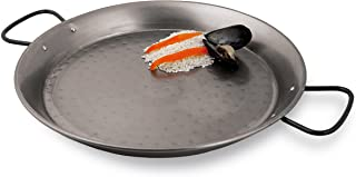 World Cuisine 23 5/8 Inch Polished Carbon Steel Paella Pan