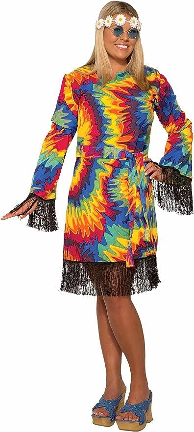 60s Costumes: Hippie, Go Go Dancer, Flower Child, Mod Style Forum Novelties - Hippie Tye Dye Dress - Plus Costume  AT vintagedancer.com