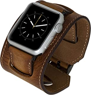 Venito Ancona Cuff Handmade Premium Leather Watch Band Compatible with The Newest Apple Watch iwatch Series 5 as Well as Series 1,2,3, 4 (Antique Brown w/Black Stainless Steel Hardware, 38mm-40mm)