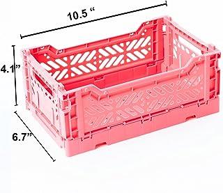 AY-KASA Collapsible Storage Bin Container Basket Tote, Folding Basket Crate Container : Storage, Kitchen, Houseware Utility Basket Tote Crate - Mini-Box (Dark Pink)