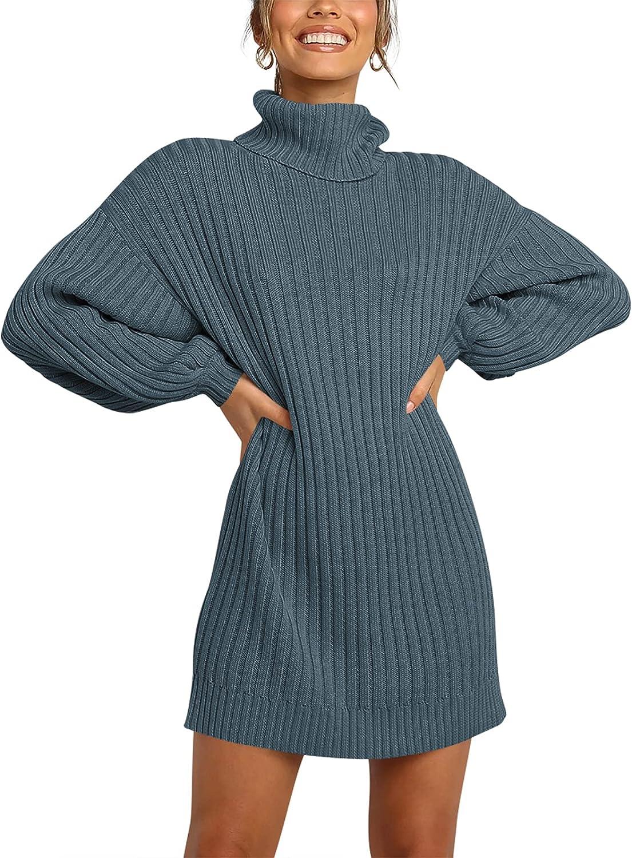 ANRABESS Women Turtleneck Long Lantern Sleeve Casual Loose Oversized Sweater Dress Soft Winter Pullover Dresses