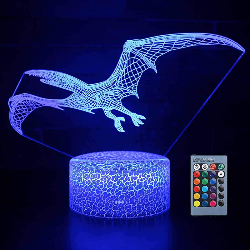 Yiomxhi Dinosaur Night Light For Kids 7 Colors Changing 3D Night Lights With Smart Touch Remote Control New Version 3D Lamp For Kids Or As Gifts For Kids Girls Boys