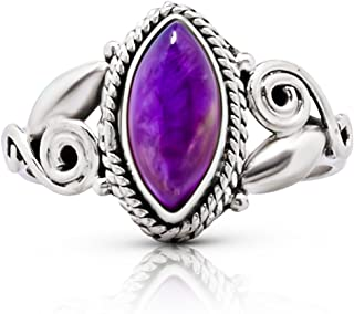 Vintage Sterling Silver Amethyst Band Ring Size 7