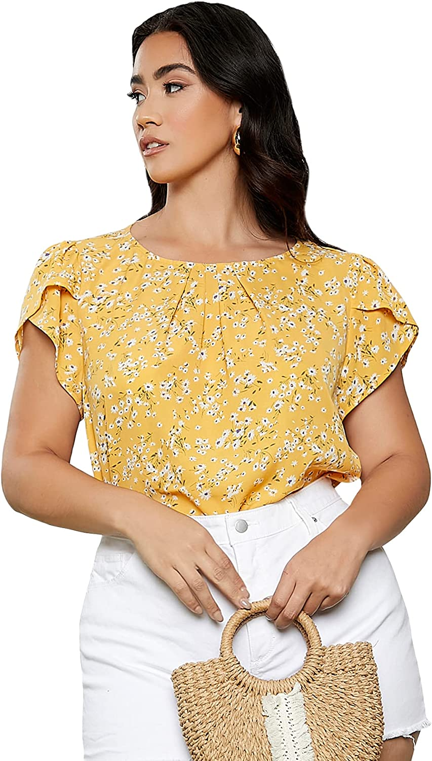 Milumia Women's Short Sleeve Casual Floral Print Blouse Tops