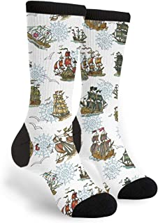 Old Sailing Ships And Compass Men Women 3D Leisure Crazy Funny Socks