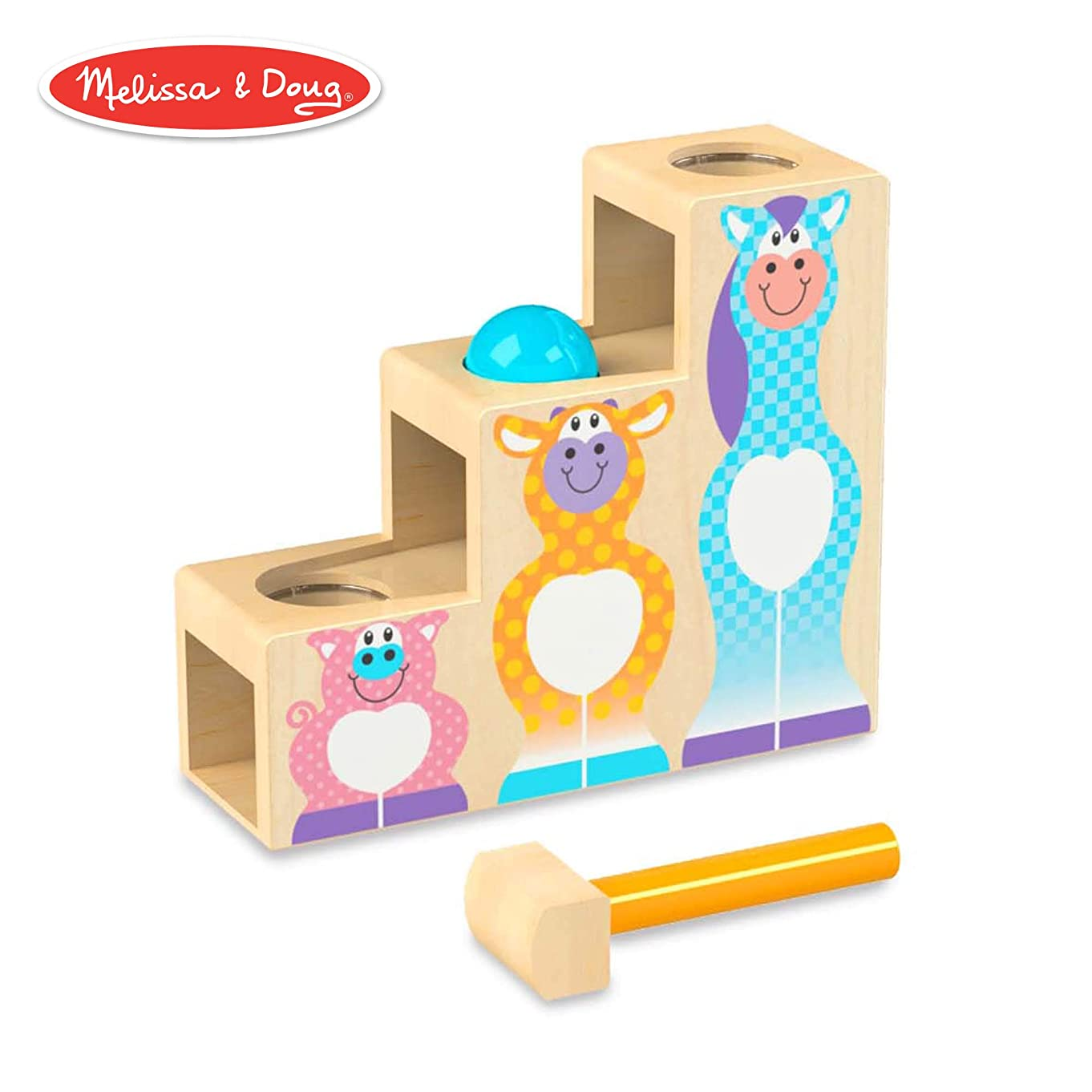 Melissa & Doug First Play Pound & Roll Stairs Wooden 3 Piece Baby Kids Hammer & Ball Toy