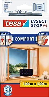 Tesa Insect Stop Comfort Vliegengaas voor ramen/insectenbescherming met zelfklevend klittenband in antraciet / 1 m x 1 m (...
