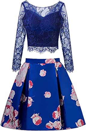 a98b39a83da3 TANGFUTI Two Piece Homecoming Dress Short Lace Floral Half Sleeves Prom  Graduation Gowns