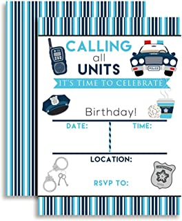 Amanda Creation Policeman, Police Officer Birthday Party Fill in Invitations Set of 20 with envelopes