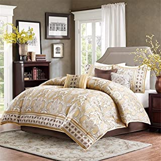 OS 7-Piece Comforter Set, Gold Jacquard Pattern with Transitional Classic Style, Luxurious and Royal, Yellow Gold Color - Cal King