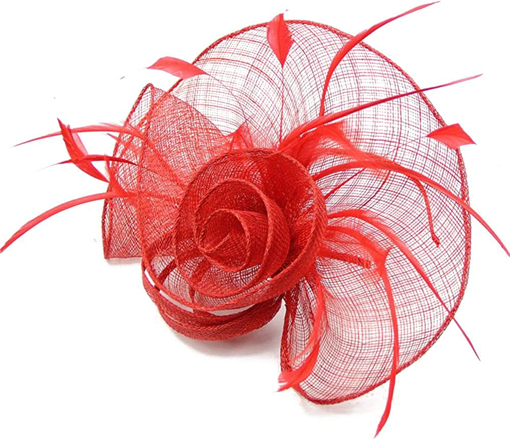 Sinamay Feather Fascinator Headband Flower Derby Hat for Women Royal Wedding Cocktail Party