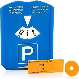 COM-FOUR® 1x parkeerschijf met ijskrabber, rubberen lip, winkelwagenchip en bandenmes - parkeermeter van kunststof (01 stu...