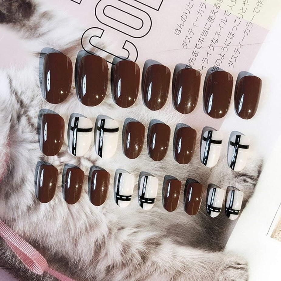 投獄ケーブルカーほこりIntercorey 24ピース明るい完成した偽爪ロングラウンドデザインフルカバー人工爪美人のための乙女女性バック接着