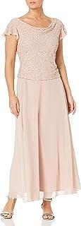 Women's Short Sleeve Long All Over Beaded Dress Petite