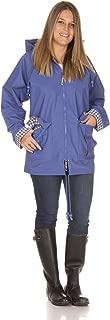 Rain Slicks Women's Classic Look Raincoat Hooded Plaid Lined Waterproof Jacket