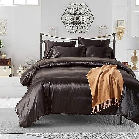 HYSENM Parure de lit Satin Lisse Housse de Couette avec Taie d'oreiller Confortable Soyeux Brillant Doux au Toucher, Noir 200_x_200_cm