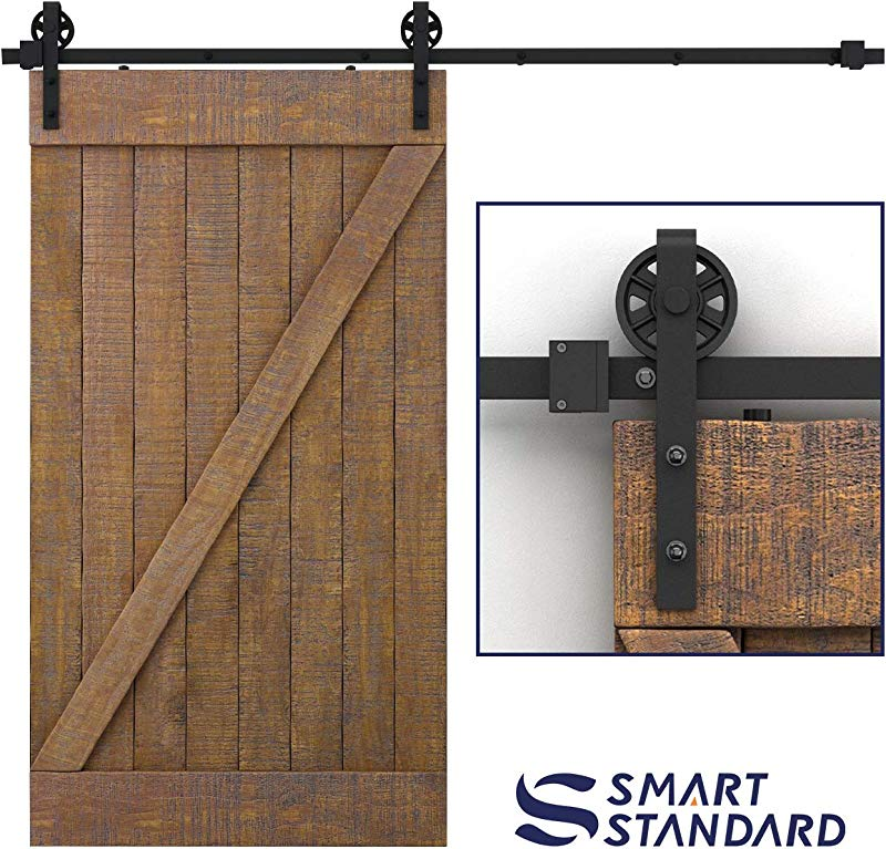 SMARTSTANDARD 8FT Heavy Duty Sliding Barn Door Hardware Kit Single Rail Black Smoothly And Quietly Simple And Easy To Install