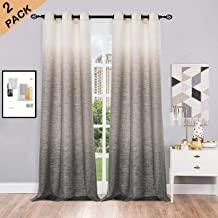 Ombre Window Curtain Panel Pairs Linen Gradient Print on Rayon Blend Fabric Drapery Treatments for Living Room/Bedroom/Farmhouse,White to Gray,40