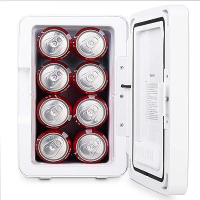 AstroAI Mini Refrigerador 6 Litro/8 Latas Frigorífico para Cosmético y Maquillaje con la Tempuratura Control 110V/12V Mini Nevera para Enfriar y Calentar Rosado