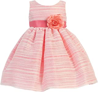 4484ca5354a Lito Little Girls Coral Sleeveless Striped Organza Easter Flower Girl Dress