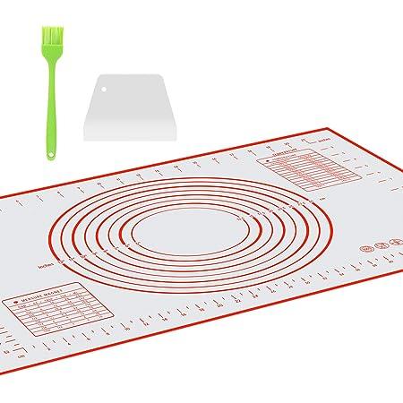 OJVDS Tapis de Cuisson Silicone (40×60cm),avec 1 Grattoir à Pâte,1*Brosses,Tapis à Pâtisserie en Silicone antidérapant et résistant à la Chaleur,100% sans Bisphénol-A (BPA),avec Mesure,(Rouge)