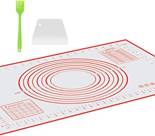 OJVDS Tapis de Cuisson Silicone (40×60cm),avec 1 Grattoir à Pâte,1*Brosses,Tapis à Pâtisserie en Silicone antidérapant et ...