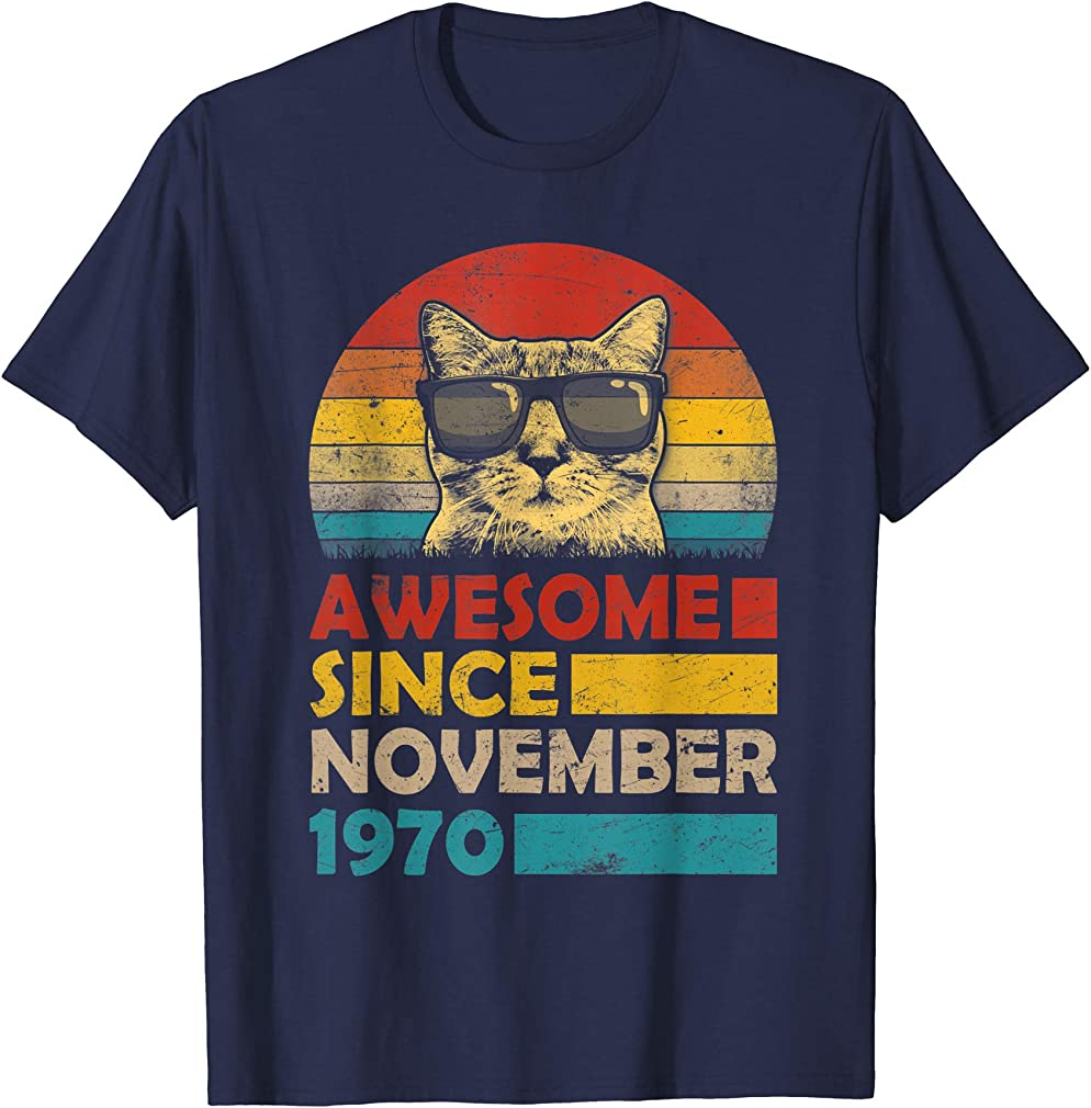 Awesome Since November 1970 49th Birthday Gift Cat T-shirt