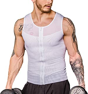 Shaxea Zipper Men's Strong Compression Shirt to Hide Gynecomastia Body Shaper Chest Slimming Body Shaper fit Undershirt