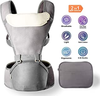 MYRCLMY Baby Carrier with Hip Seat, Waist Packs & Cotton Burp Cloth, 2 in 1 Lightweight & Ergonomic Baby Waist Seat for 0-36 Months