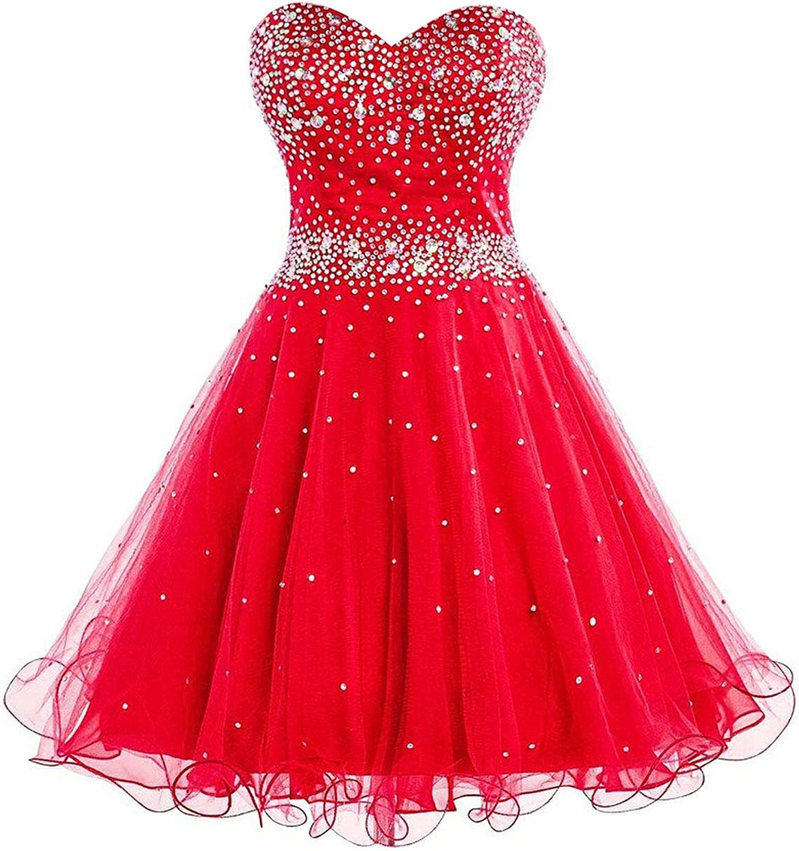 DianSheng Women's Short Tulle Beading Bridesmaid Dress Short Prom Gown Red US10