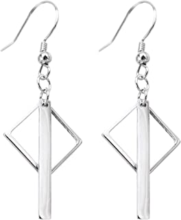 Hiqmic 925 Sterling Silver Rhombus Vertical Bar drop Earrings_WK90133