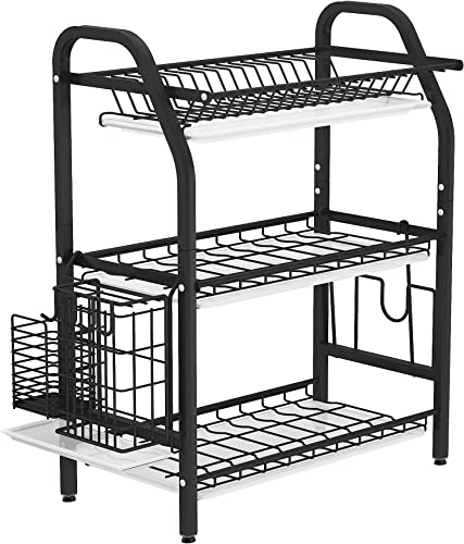 discount Dish Drying Rack, 1Easylife 3 Tier Dish Rack Stainless Steel with online Utensil Knife Holder and Cutting Board wholesale Holder Dish Drainer with Removable Drain Board for Kitchen Counter Organizer Storage (Black) outlet sale