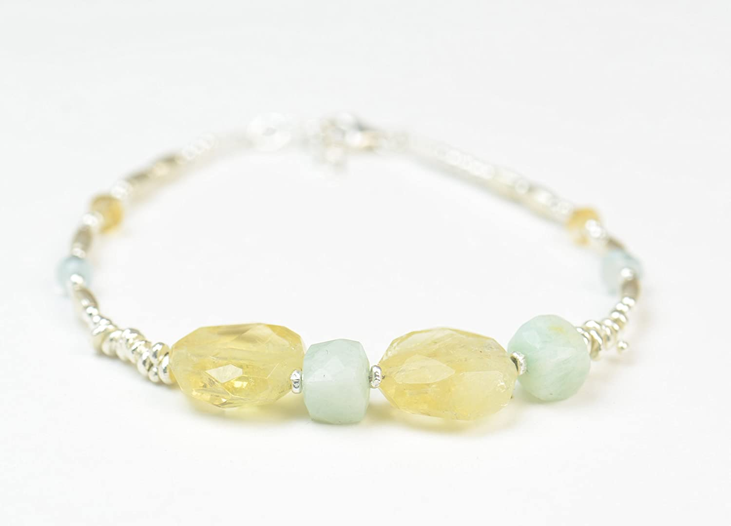 Aquamarine citrine and sterling OFFicial mail order bracelet Some reservation beads silver