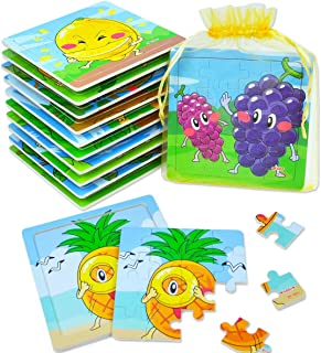 Kids Puzzle Party Favor - Fruits Theme Kindergarten Tray Puzzles, Attractive Puzzle Packs for Party Return Gifts (12 Packs)