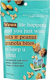 B'Cuz Life Happens Snack Granola Bites, Gluten Free, Non-GMO, Plant Based (12 Pack) (Oats n Peanut)