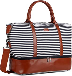 BAOSHA HB-28 Ladies Women Canvas Travel Weekender Bag Overnight Carry-on Duffel Tote Bag (Real Leather Blue Shoe Compartment)