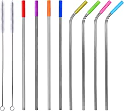 """ALINK 10.5"""" Long Reusable Replacement Metal, Set of 8 with Silicone Tips and Cleaning Brush, Stainless Steel Straws"""