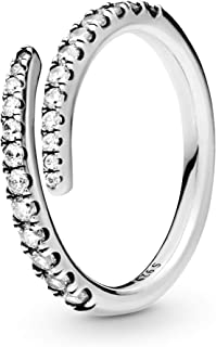 Pandora Jewelry Lines of Sparkle Cubic Zirconia Ring in Sterling Silver, Size 9