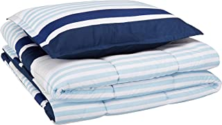 AmazonBasics Easy-Wash Microfiber Kid's Comforter and Pillow Sham Set - Twin, Navy Stripes